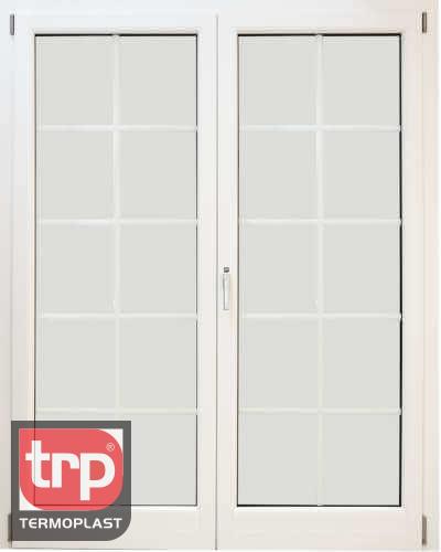 Termoplast Porta dupla com pequenas madeiras decorativas